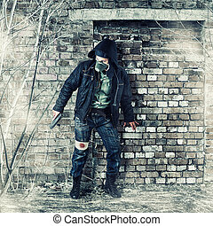 poste, apocalíptico, sobrevivente, em, máscara gás