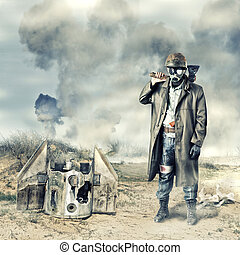 poste, apocalíptico, sobrevivente, segurando, machado