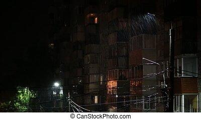 poste, barbouillage, pluie, pluvieux, lampe, foyer sélectif,...