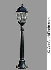 poste claro, isolado, lâmpada, rua, poste, estrada
