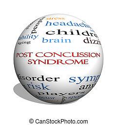 poste, concussion, síndrome, 3d, esfera, palavra, nuvem, conceito
