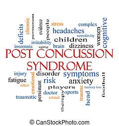 poste, conmoción cerebral, síndrome, palabra, nube, concepto