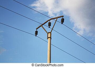 poste del telégrafo, y, alambres