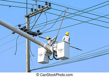 poste, electricista, eléctrico, trabajando