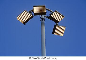 poste, fue adelante, lámpara