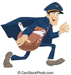 poste, gens, courrier, rigolote, delivery., exprès, facteur, correspondence.