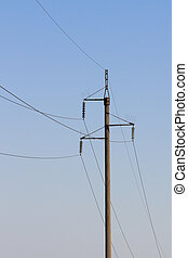 poste, high-power, líneas