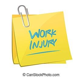 poste, ilustración, memorándum, lesión, trabajo