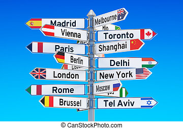 poste indicador, 3d, ciudades, nombres, interpretación