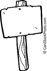 poste indicador, caricatura, blanco