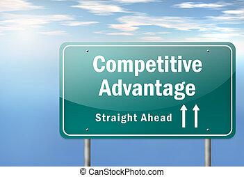 poste indicador, competitivo, ventaja, carretera