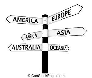 poste indicador, con, continentes