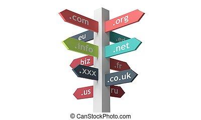 poste indicador, con, dominio, nombres, aislado, blanco,...