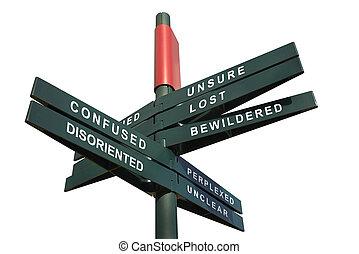 poste indicador, confuso, desorientar