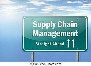 poste indicador, dirección, carretera, cadena, suministro