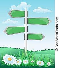 poste indicador, en, el, pradera, con, flores