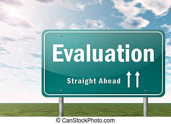poste indicador, evaluación, carretera