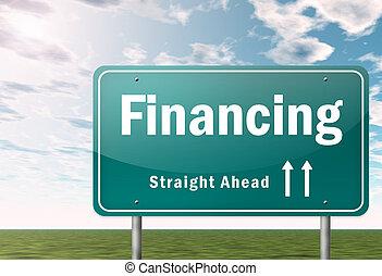poste indicador, financiamiento, carretera