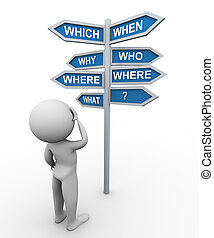 poste indicador, hombre, pregunta, palabras, 3d