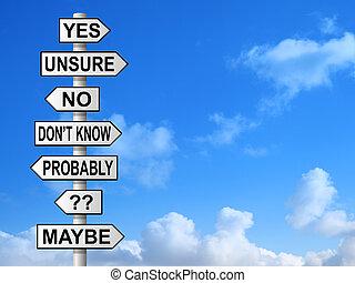 poste indicador, incierto, preguntas