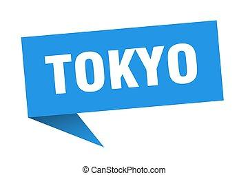 poste indicador, indicador, señal, azul, sticker., tokio
