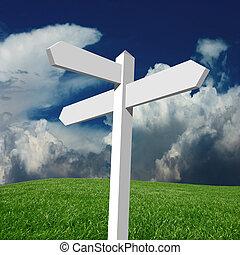 poste indicador, nubes, blanco