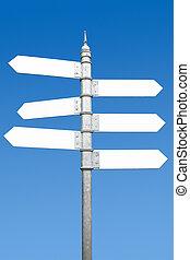poste indicador, seis, text., espacios, manera, blanco, multidirectional