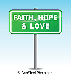 poste indicador, vector, amor, esperanza, fe