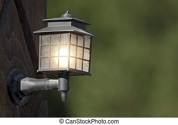 poste, lampe, jardin