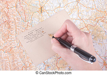 poste, mano, tarjeta, hembra, escritura