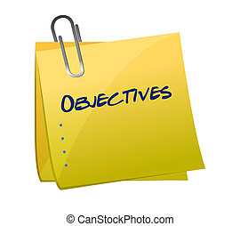 poste, memorándum, objetivos, ilustración