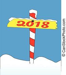 poste, norte, 2018, señal