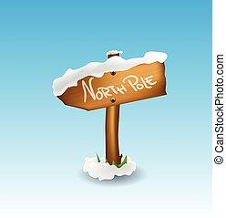 poste, norte, ilustración, señal