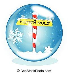 poste, norte, invierno, globo