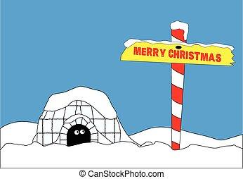 poste, norte, navidad, alegre