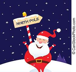 poste, norte, navidad, santa