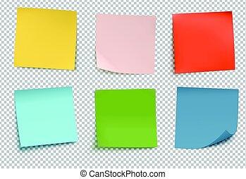 poste, notas, multicolor, él