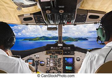 poste pilotage, île, avion, pilotes
