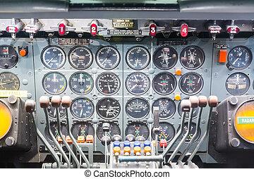 poste pilotage, avion., intérieur, vue