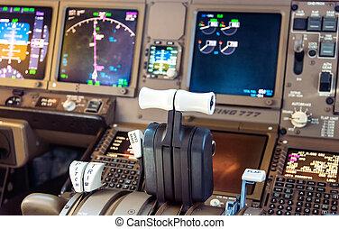 poste pilotage, avion ligne, détails