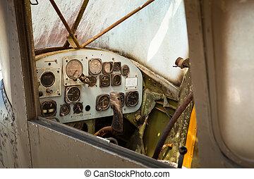 poste pilotage, avion, vieux