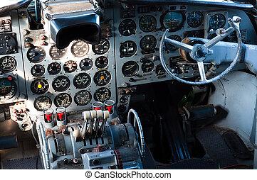 poste pilotage, avion, vue