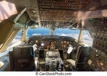 poste pilotage, avion, vue.