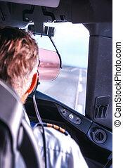 poste pilotage, intérieur, annonce publicitaire avion