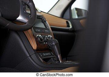 poste pilotage, intérieur voiture, moderne