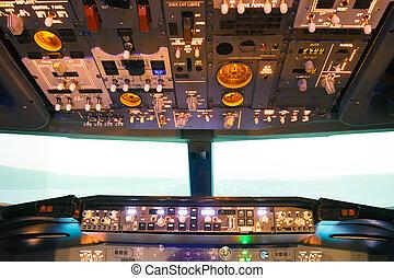 poste pilotage, intérieur, vol, fait maison, simulateur