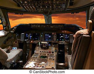 poste pilotage, moderne, jet