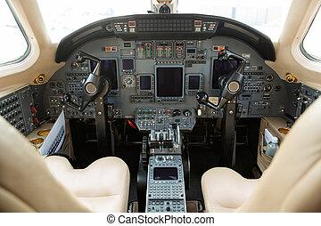 poste pilotage, privé, jet commercial
