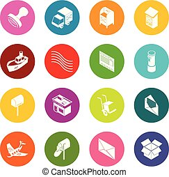 Poste service icons set colorful circles vector