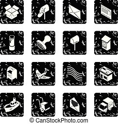 Poste service icons set grunge vector